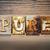 zuiverheid · woord · geschreven · roestige · metaal - stockfoto © enterlinedesign