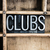 clubs concept metal letterpress word in drawer stock photo © enterlinedesign