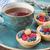 heerlijk · ontbijt · vruchten · zwarte · thee · Blauw - stockfoto © Epitavi