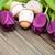 húsvéti · tojások · lila · tulipán · virágok · izolált · fehér - stock fotó © es75