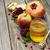 miele · mela · melograno · tavolo · in · legno · verde · piatto - foto d'archivio © es75