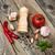 domates · sarımsak · fesleğen · eski · ahşap · tablo - stok fotoğraf © Es75