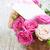 ピンク · バラ · 花束 · グリーティングカード · 木製のテーブル · 先頭 - ストックフォト © es75