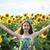 少女 · 緑の目 · ヒマワリ · 美しい · 若い女性 · 顔 - ストックフォト © es75