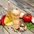 zeytinyağı · fesleğen · domates · sarımsak · ahşap · gıda - stok fotoğraf © Es75