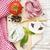preparazione · essiccati · pomodori · greggio · vecchio · tavolo · in · legno - foto d'archivio © es75