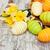 arte · easter · eggs · fiori · di · primavera · legno · blu - foto d'archivio © es75