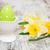 amarelo · ovo · concha · rústico · madeira · primavera - foto stock © es75