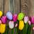 húsvéti · tojások · rózsaszín · tulipánok · virágcsokor · polc · fából · készült - stock fotó © es75