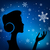 christmas eve background profile silhouette of pretty young gir stock photo © essl