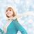 vrouw · gebreid · wol · sjaal · jonge · mooie · vrouw - stockfoto © evgenyatamanenko