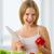niña · feliz · comida · vegetariana · hortalizas · cocina · diversión · feliz - foto stock © evgenyatamanenko