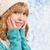 mooie · blond · meisje · sneeuwvlokken · winter · handen - stockfoto © evgenyatamanenko