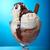 ice cream with chocolate sauce stock photo © fanfo