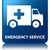 Emergency service glossy blue reflected square button stock photo © faysalfarhan