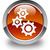 gears icon glossy brown round button stock photo © faysalfarhan