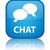 Chat icon reflected on glossy blue square button stock photo © faysalfarhan