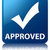 approved validation icon glossy blue reflected square button stock photo © faysalfarhan