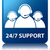 24/7 support team glossy blue reflected square button stock photo © faysalfarhan