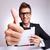 пальца · кадр · улыбаясь · азиатских · деловой · человек - Сток-фото © feedough