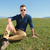 casual man laying in the grass stock photo © feedough