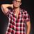 yakışıklı · moda · adam · gözlük · düşünme - stok fotoğraf © feedough