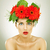 amazed with red gerbera flowers on her head stock photo © feedough