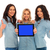 3 women showing the screen of tablet and make ok stock photo © feedough