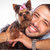 man is holding his pet yorkshire terrier puppy dog stock photo © feedough