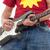 岩 · ロール · ギタリスト · ジャンプ · エレキギター · 煙 - ストックフォト © feedough
