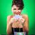 nő · mosolyog · kaszinó · ül · póker · asztal · nő - stock fotó © feedough