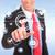 homme · d'affaires · poussant · chat · bouton · futuriste · interface - photo stock © feedough
