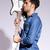 lezser · gitáros · tart · gitár · arc · fehér - stock fotó © feedough