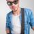 moço · guitarra · olhando · câmera · retrato - foto stock © feedough