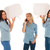 woman talking on phone and her friends holding speech bubbles stock photo © feedough