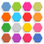 flat blank web button hexagon icon set with shadow stock photo © feelisgood