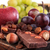 bunch of fruit apples and grapes with nuts chocolate stock photo © feelphotoart