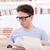 diák · szemüveg · tanul · könyvek · jóképű · póló - stock fotó © feelphotoart