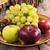 friss · almák · szőlő · arany · tányér · fából · készült - stock fotó © feelphotoart