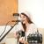 bastante · menina · cantando · jogar · guitarra · sofá - foto stock © feelphotoart