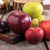 close up of fresh organic fruits apples and grapes on the wood stock photo © feelphotoart