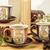 három · retro · üres · csészék · tea · fa · asztal - stock fotó © feelphotoart