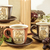 three retro empty cups for tea on retro wooden table stock photo © feelphotoart