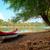 red canoe on beach at river danube stock photo © fesus