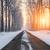tél · tájkép · naplemente · út · hó · égbolt - stock fotó © fesus