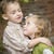 adorable brother and sister children hugging outside stock photo © feverpitch