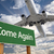 Come Again Green Road Sign and Airplane Above stock photo © feverpitch