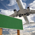 blank green road sign and airplane above stock photo © feverpitch