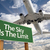 the sky is the limit green road sign and airplane stock photo © feverpitch