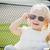 Cute · девочку · Солнцезащитные · очки · изолированный · белый - Сток-фото © feverpitch